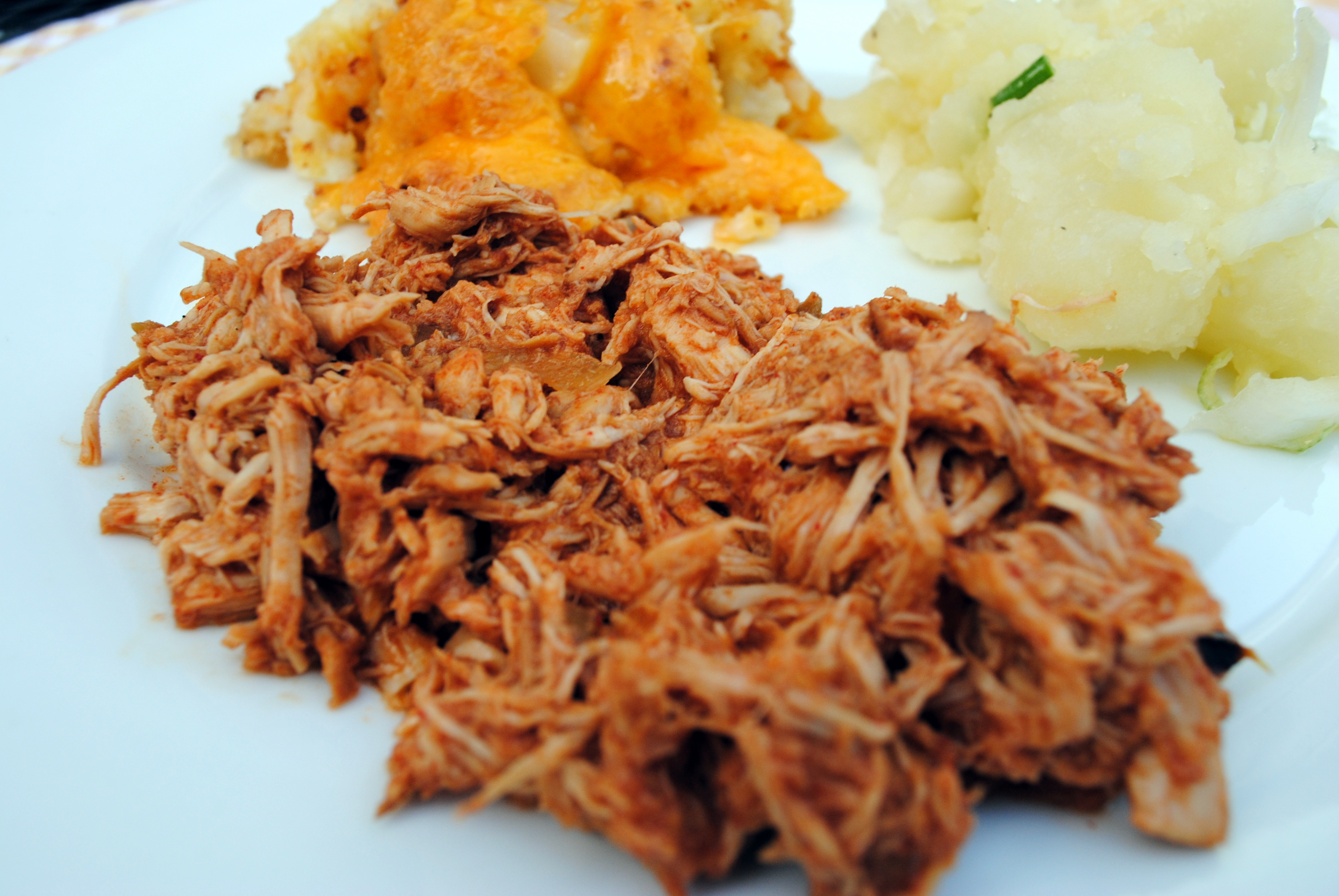 BBQ Pulled Chicken with Cauliflower Casserole and Easy Potato Salad ...