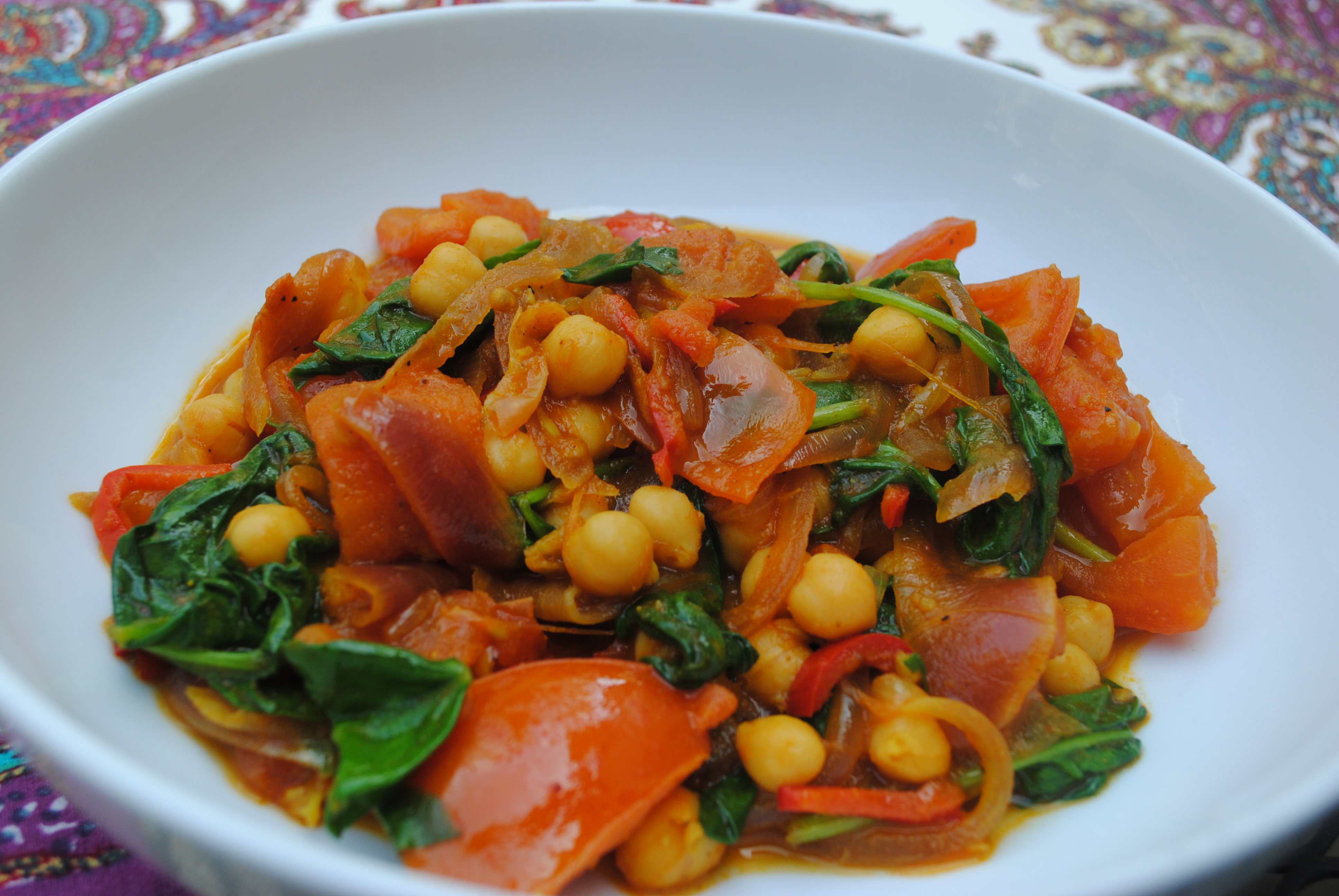 Chickpeas with Tomatoes & Spinach (from BBCGoodFood.com )